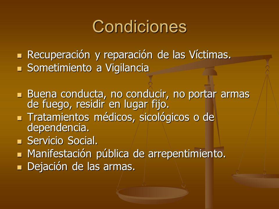 Condiciones Recuperación y reparación de las Víctimas. Recuperación y reparación de las Víctimas. Sometimiento a Vigilancia Sometimiento a Vigilancia