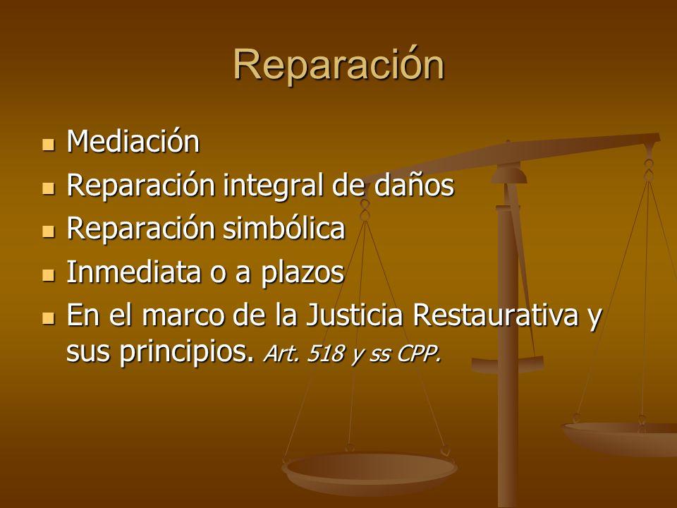 Reparaci ó n Mediación Mediación Reparación integral de daños Reparación integral de daños Reparación simbólica Reparación simbólica Inmediata o a pla