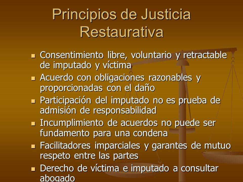 Principios de Justicia Restaurativa Consentimiento libre, voluntario y retractable de imputado y víctima Consentimiento libre, voluntario y retractabl