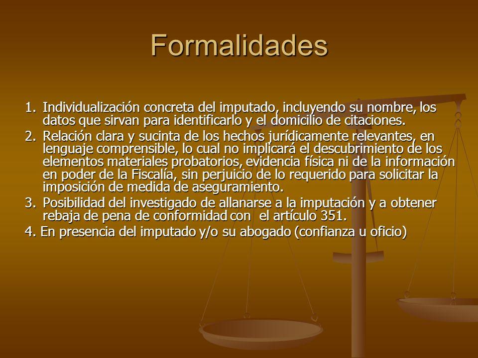 Formalidades 1.Individualización concreta del imputado, incluyendo su nombre, los datos que sirvan para identificarlo y el domicilio de citaciones. 2.