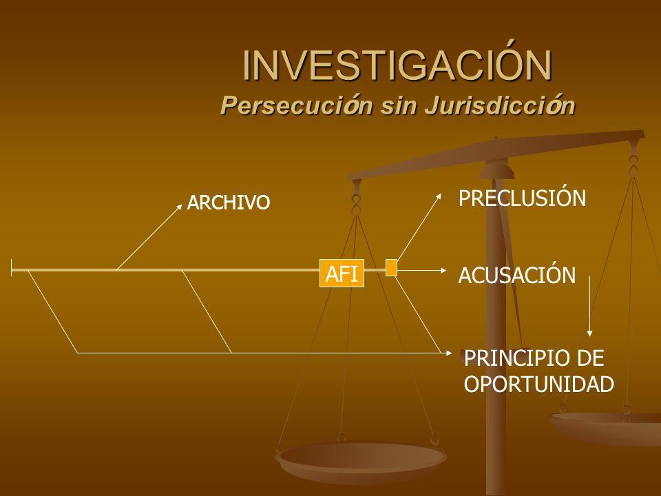 INVESTIGACI Ó N Persecuci ó n sin Jurisdicci ó n AFI ARCHIVO PRECLUSIÓN ACUSACIÓN PRINCIPIO DE OPORTUNIDAD