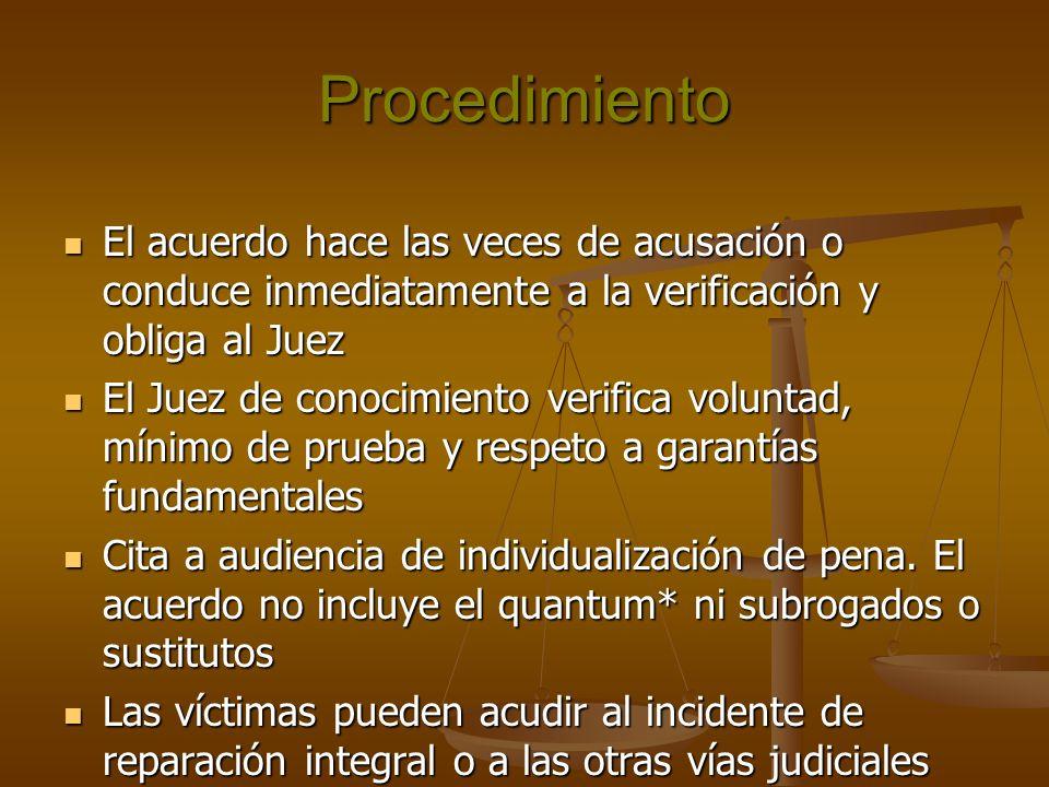 Procedimiento El acuerdo hace las veces de acusación o conduce inmediatamente a la verificación y obliga al Juez El acuerdo hace las veces de acusació