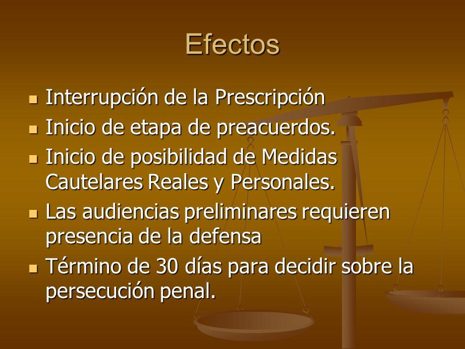 Efectos Interrupción de la Prescripción Interrupción de la Prescripción Inicio de etapa de preacuerdos. Inicio de etapa de preacuerdos. Inicio de posi