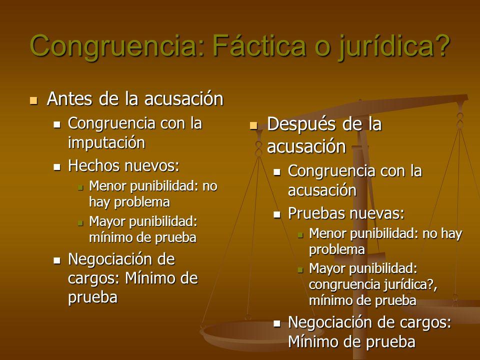 Congruencia: Fáctica o jurídica? Antes de la acusación Antes de la acusación Congruencia con la imputación Congruencia con la imputación Hechos nuevos