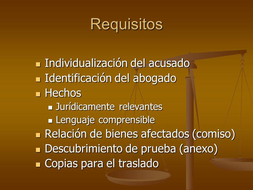 Requisitos Individualización del acusado Individualización del acusado Identificación del abogado Identificación del abogado Hechos Hechos Jurídicamen