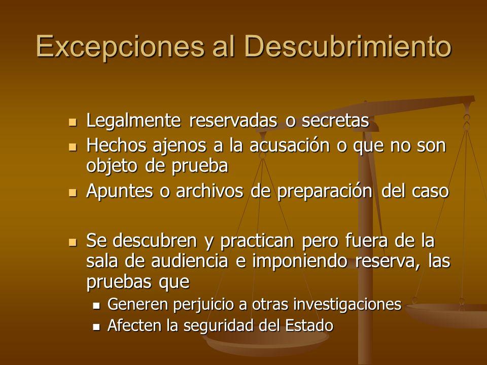 Excepciones al Descubrimiento Legalmente reservadas o secretas Legalmente reservadas o secretas Hechos ajenos a la acusación o que no son objeto de pr