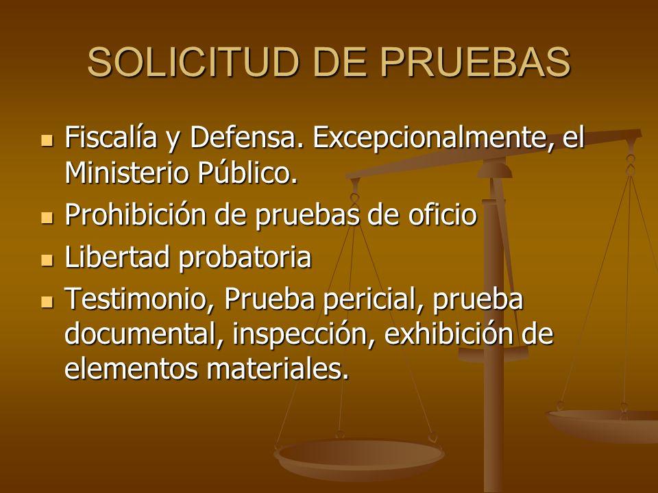 SOLICITUD DE PRUEBAS Fiscalía y Defensa. Excepcionalmente, el Ministerio Público. Fiscalía y Defensa. Excepcionalmente, el Ministerio Público. Prohibi