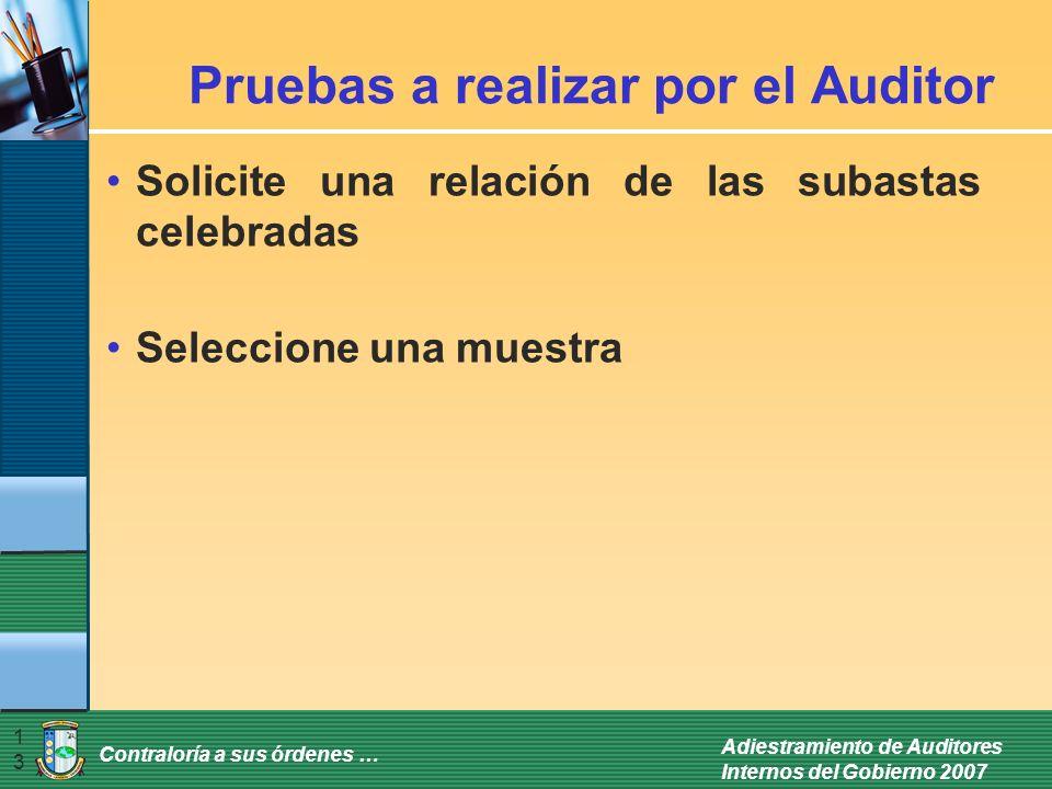 Contraloría a sus órdenes … Adiestramiento de Auditores Internos del Gobierno 2007 13 Pruebas a realizar por el Auditor Solicite una relación de las s