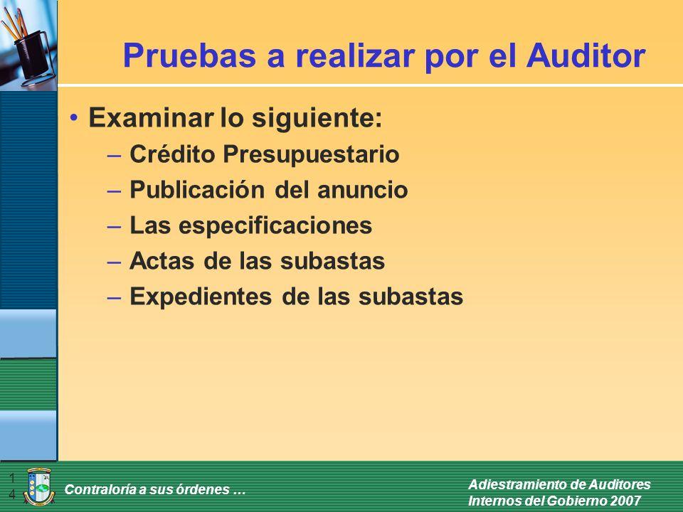 Contraloría a sus órdenes … Adiestramiento de Auditores Internos del Gobierno 2007 14 Pruebas a realizar por el Auditor Examinar lo siguiente: –Crédit