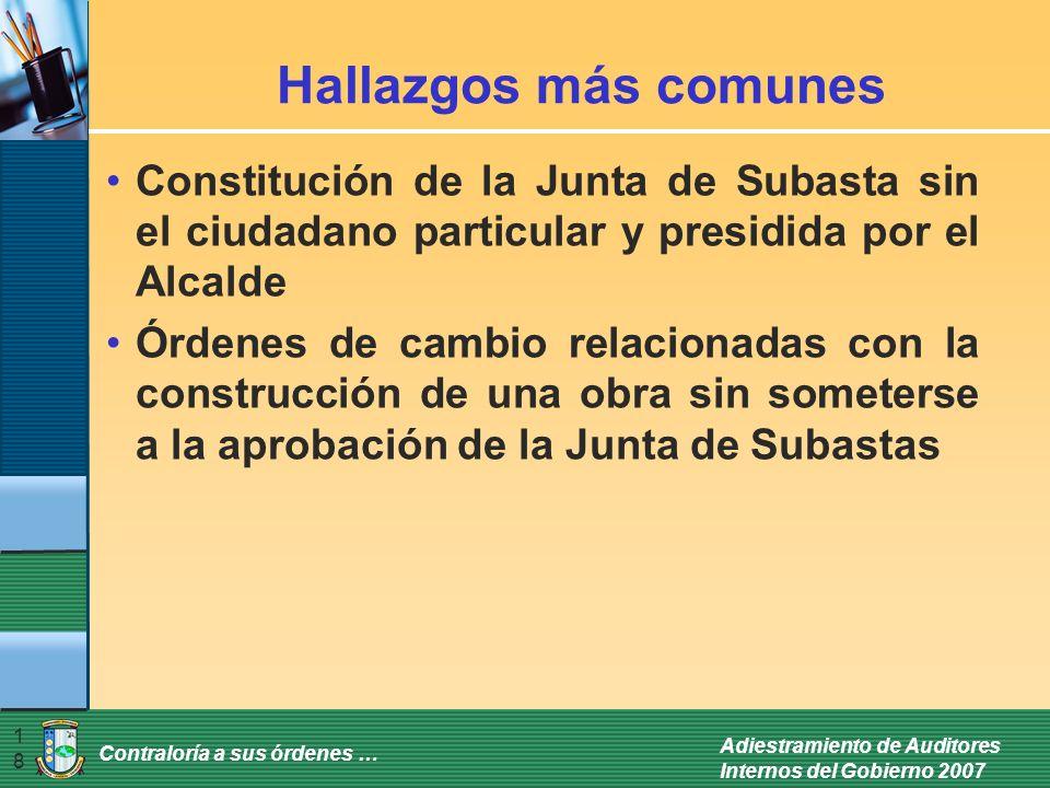 Contraloría a sus órdenes … Adiestramiento de Auditores Internos del Gobierno 2007 18 Hallazgos más comunes Constitución de la Junta de Subasta sin el