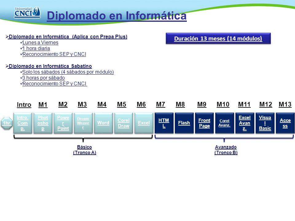 Diplomado en Informática Duración 13 meses (14 módulos) 1hr. Diplomado en Informática (Aplica con Prepa Plus) Lunes a Viernes 1 hora diaria Reconocimi