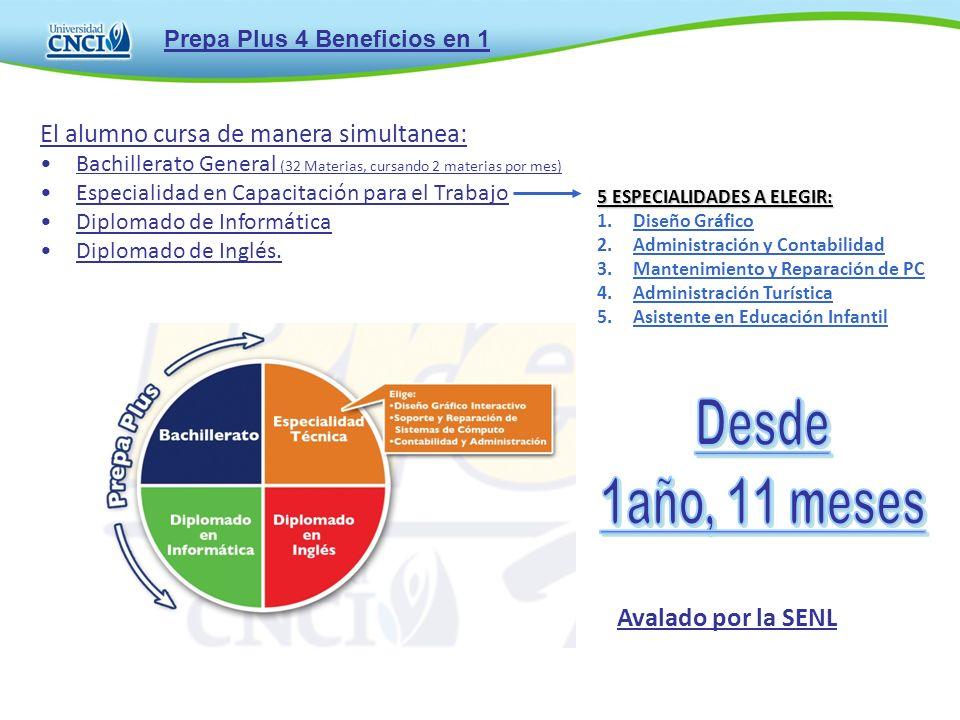 El alumno cursa de manera simultanea: Bachillerato General (32 Materias, cursando 2 materias por mes) Especialidad en Capacitación para el Trabajo Dip