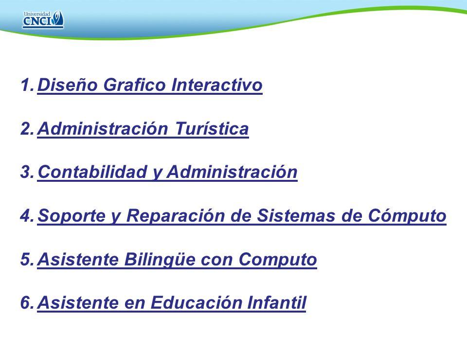 1.Diseño Grafico Interactivo 2.Administración Turística 3.Contabilidad y Administración 4.Soporte y Reparación de Sistemas de Cómputo 5.Asistente Bili
