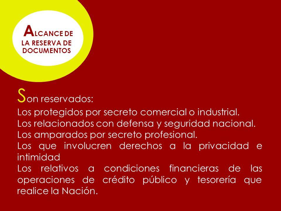 S on reservados: Los protegidos por secreto comercial o industrial.