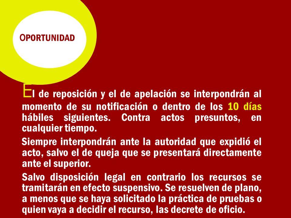 O PORTUNIDAD E l de reposición y el de apelación se interpondrán al momento de su notificación o dentro de los 10 días hábiles siguientes.