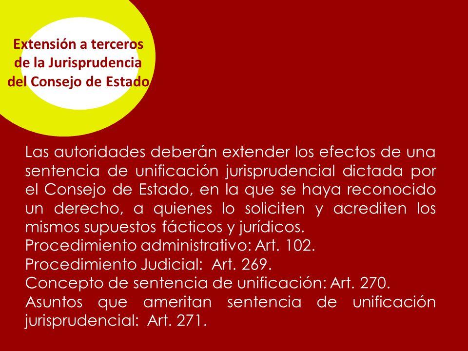 Extensión a terceros de la Jurisprudencia del Consejo de Estado Las autoridades deberán extender los efectos de una sentencia de unificación jurisprudencial dictada por el Consejo de Estado, en la que se haya reconocido un derecho, a quienes lo soliciten y acrediten los mismos supuestos fácticos y jurídicos.