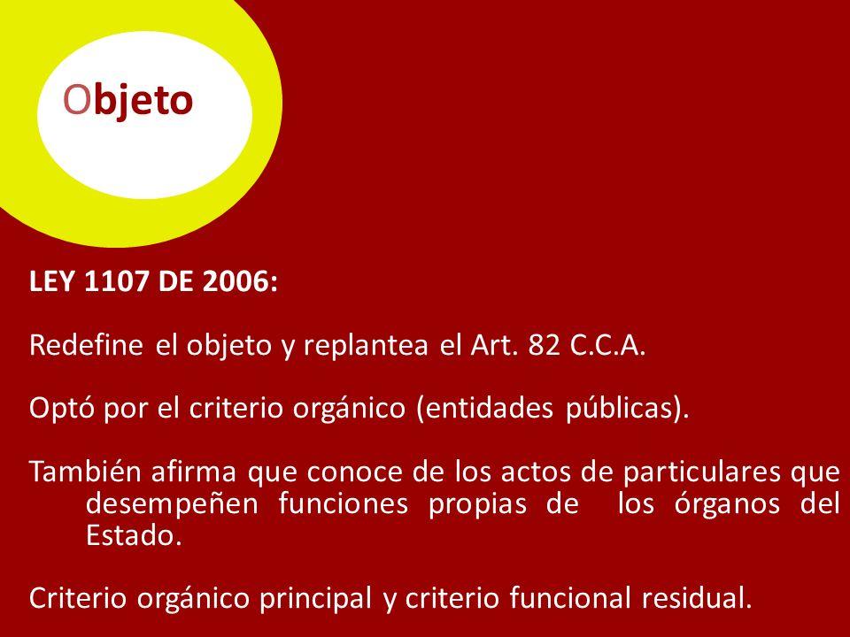 Objeto LEY 1107 DE 2006: Redefine el objeto y replantea el Art.