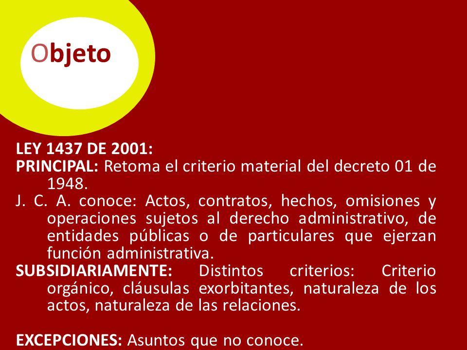 Objeto LEY 1437 DE 2001: PRINCIPAL: Retoma el criterio material del decreto 01 de 1948.