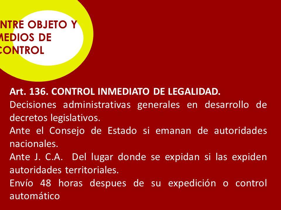 ENTRE OBJETO Y MEDIOS DE CONTROL Art.136. CONTROL INMEDIATO DE LEGALIDAD.
