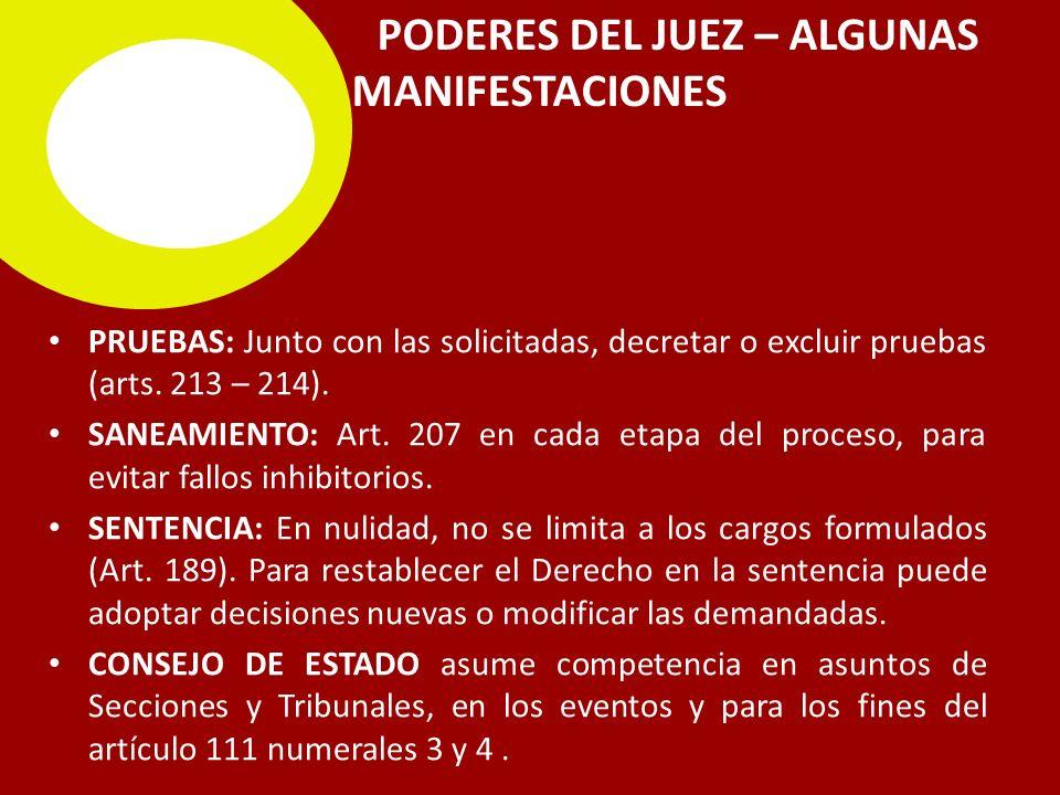 PODERES DEL JUEZ – ALGUNAS MANIFESTACIONES PRUEBAS: Junto con las solicitadas, decretar o excluir pruebas (arts.
