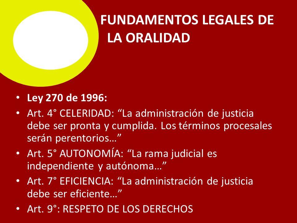 FUNDAMENTOS LEGALES DE LA ORALIDAD Ley 270 de 1996: Art.