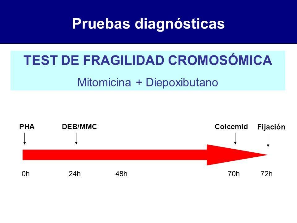 Pruebas diagnósticas TEST DE FRAGILIDAD CROMOSÓMICA Mitomicina + Diepoxibutano PHA 0h24h DEB/MMC 48h70h72h Colcemid Fijación