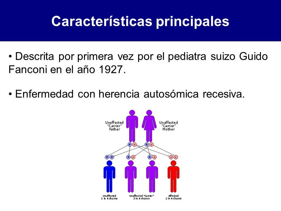Características principales Descrita por primera vez por el pediatra suizo Guido Fanconi en el año 1927. Enfermedad con herencia autosómica recesiva.