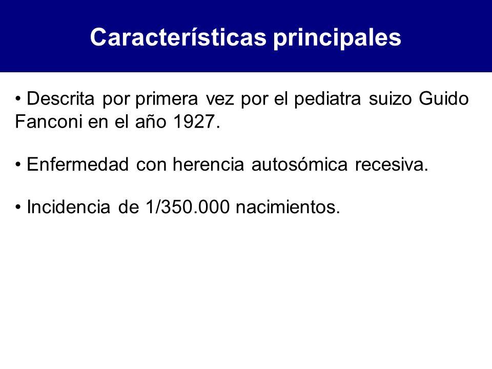 Características principales Incidencia de 1/350.000 nacimientos. Descrita por primera vez por el pediatra suizo Guido Fanconi en el año 1927. Enfermed