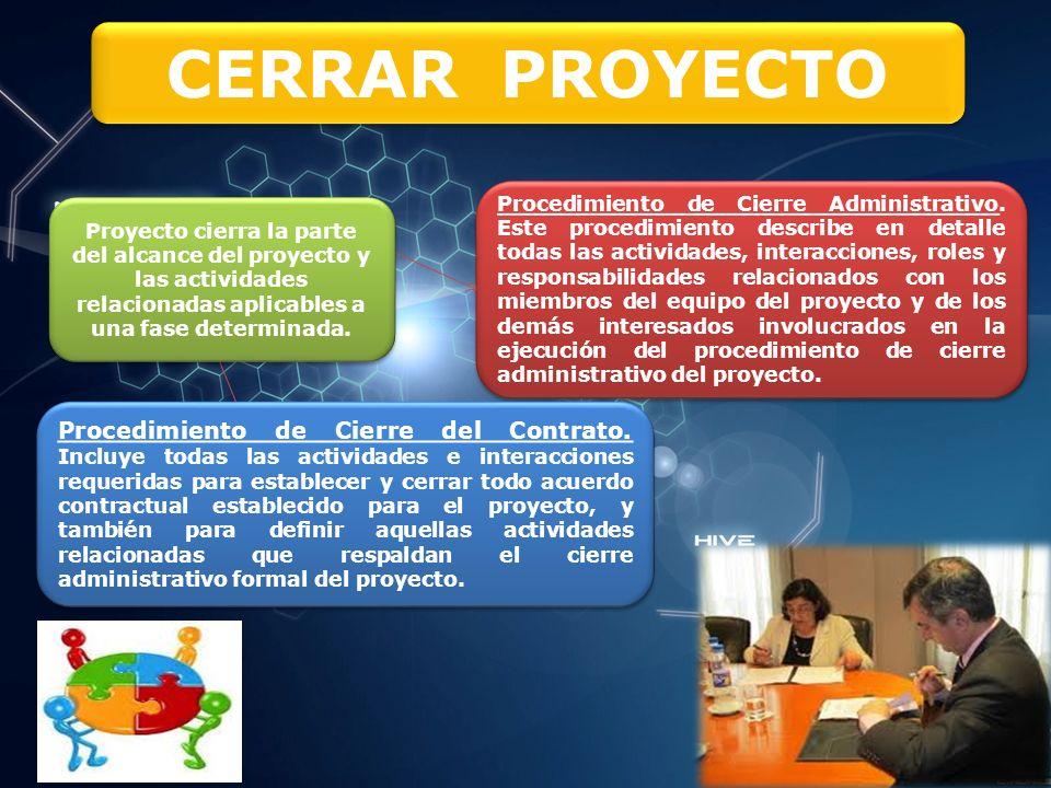 CERRAR PROYECTO Procedimiento de Cierre Administrativo.