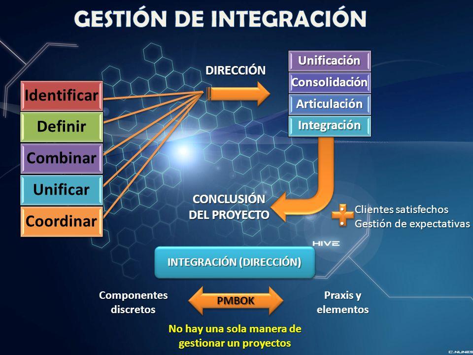 DIRECCIÓNUnificaciónConsolidación Articulación Integración CONCLUSIÓN DEL PROYECTO Clientes satisfechos Clientes satisfechos Gestión de expectativas Gestión de expectativas Identificar Definir Combinar Unificar Coordinar INTEGRACIÓN (DIRECCIÓN) PMBOKPMBOK Praxis y elementos Componentes discretos No hay una sola manera de gestionar un proyectos