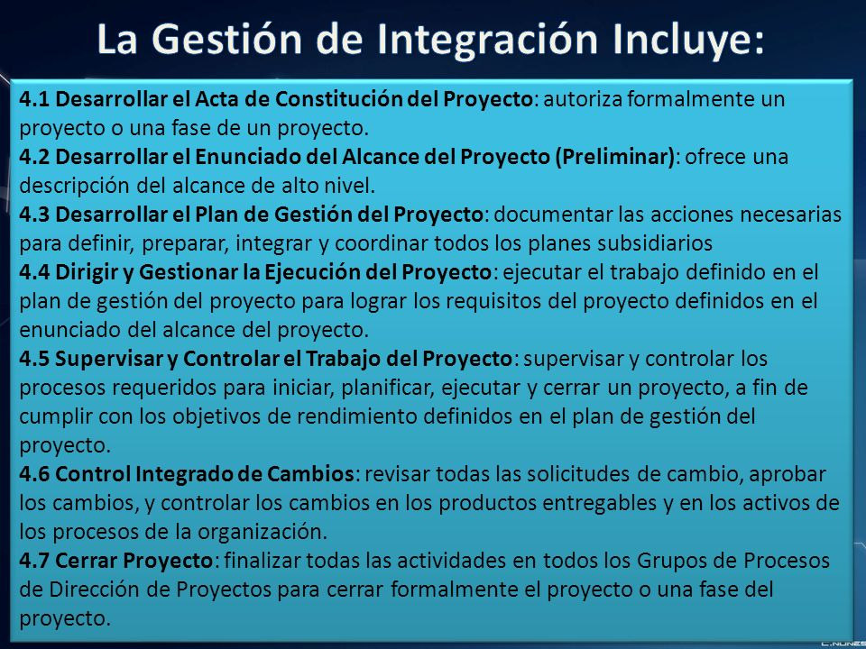 4.1 Desarrollar el Acta de Constitución del Proyecto: autoriza formalmente un proyecto o una fase de un proyecto.
