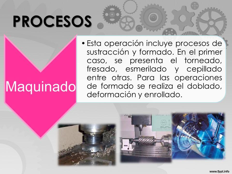 PROCESOS Maquinado Esta operación incluye procesos de sustracción y formado. En el primer caso, se presenta el torneado, fresado, esmerilado y cepilla