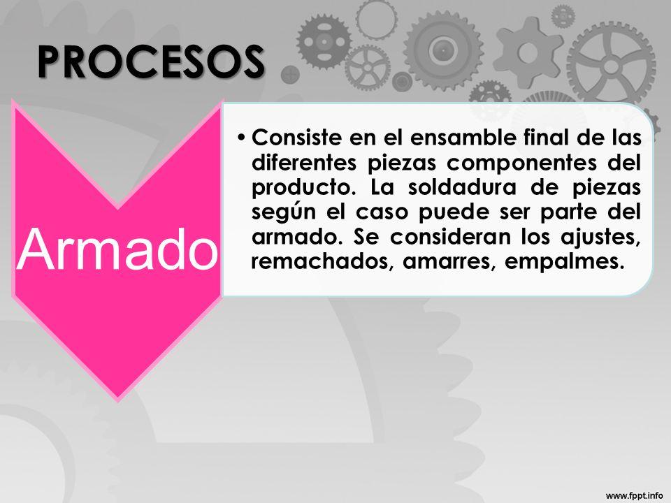 PROCESOS Armado Consiste en el ensamble final de las diferentes piezas componentes del producto. La soldadura de piezas según el caso puede ser parte