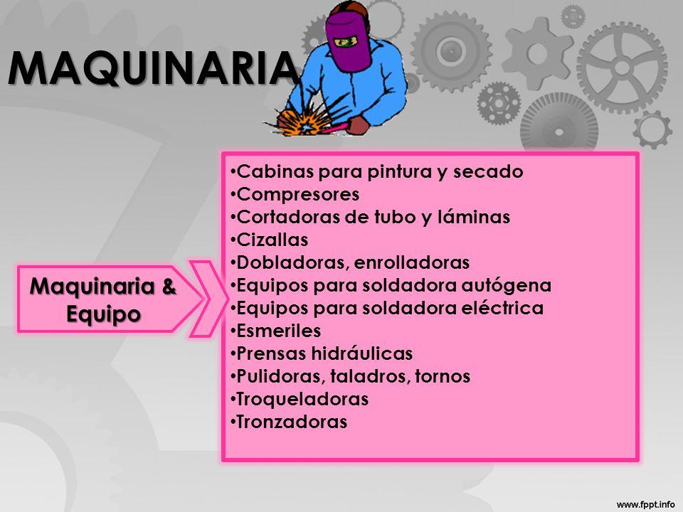 MAQUINARIA Maquinaria & Equipo Cabinas para pintura y secado Compresores Cortadoras de tubo y láminas Cizallas Dobladoras, enrolladoras Equipos para s