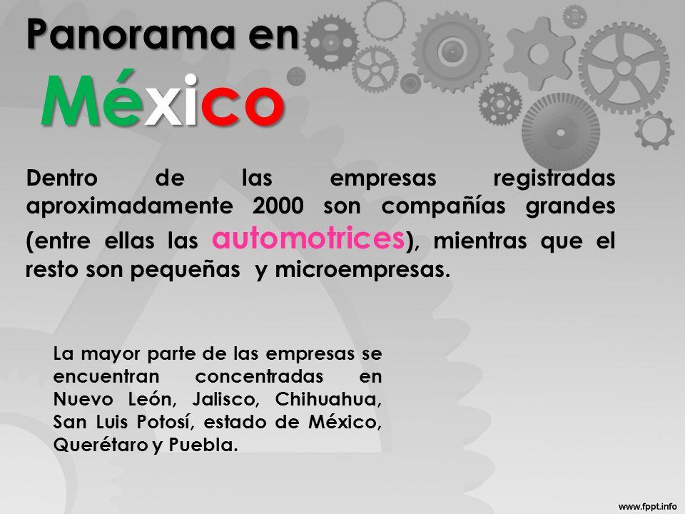 Panorama en México Dentro de las empresas registradas aproximadamente 2000 son compañías grandes (entre ellas las automotrices ), mientras que el rest