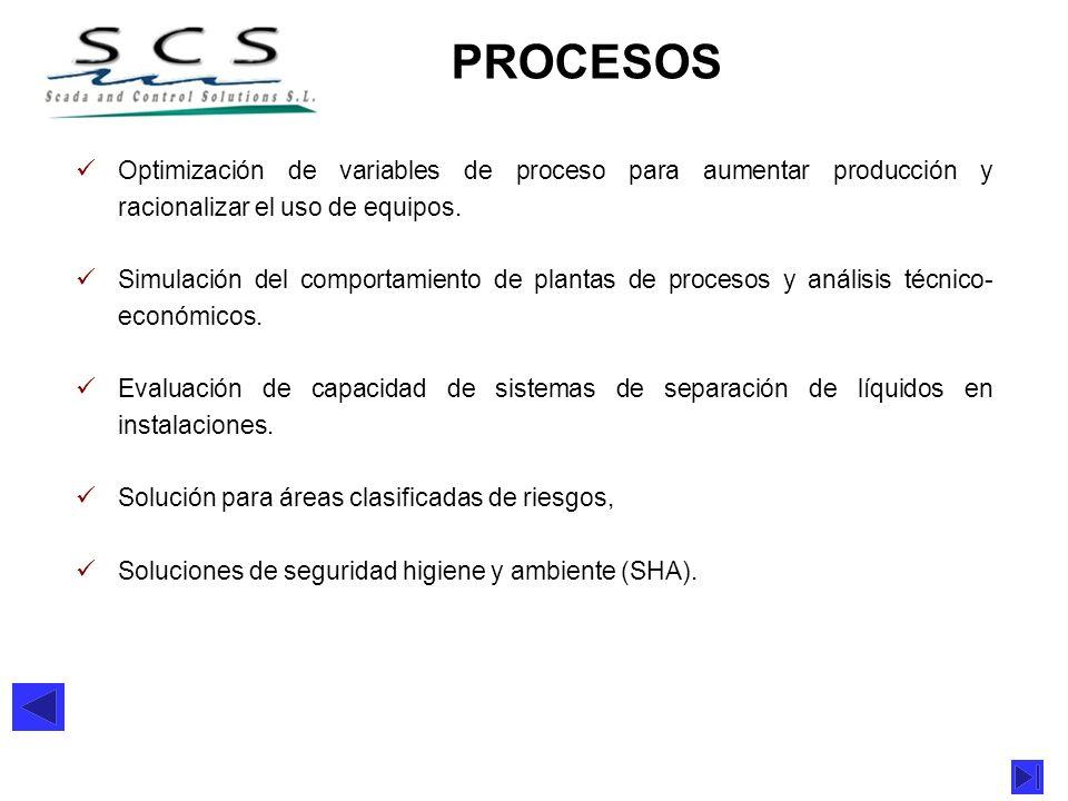 PROCESOS Optimización de variables de proceso para aumentar producción y racionalizar el uso de equipos. Simulación del comportamiento de plantas de p