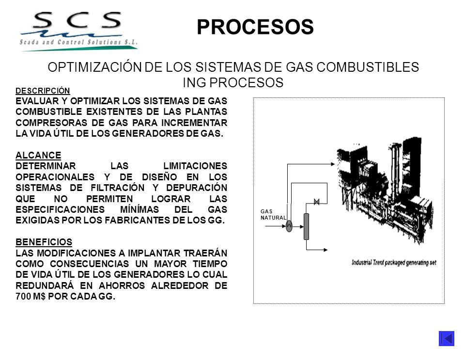 DESCRIPCIÓN EVALUAR Y OPTIMIZAR LOS SISTEMAS DE GAS COMBUSTIBLE EXISTENTES DE LAS PLANTAS COMPRESORAS DE GAS PARA INCREMENTAR LA VIDA ÚTIL DE LOS GENE