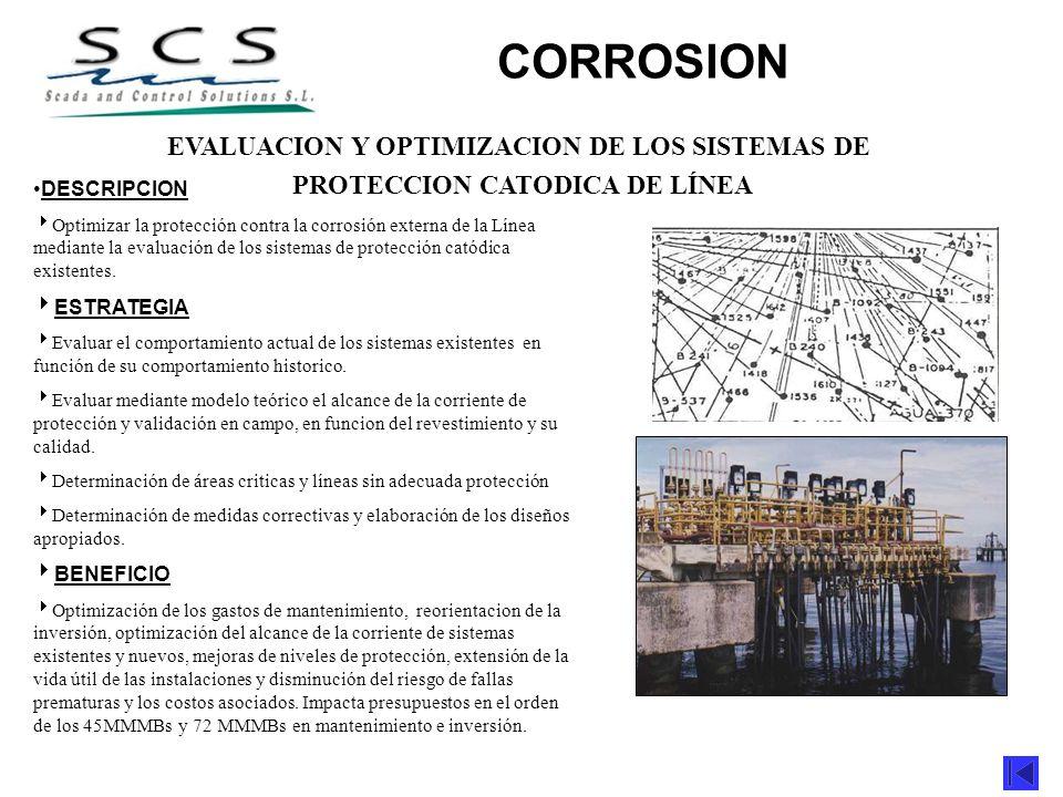 EVALUACION Y OPTIMIZACION DE LOS SISTEMAS DE PROTECCION CATODICA DE LÍNEA DESCRIPCION Optimizar la protección contra la corrosión externa de la Línea