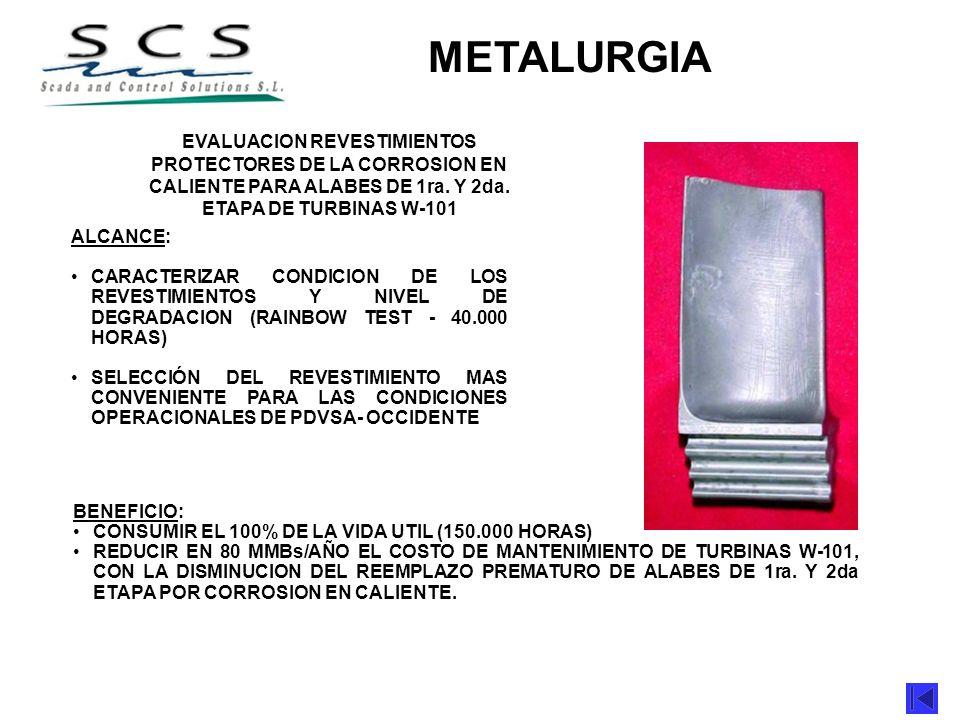 METAS/PROYECTOS 2001 METALURGIA ALCANCE: CARACTERIZAR CONDICION DE LOS REVESTIMIENTOS Y NIVEL DE DEGRADACION (RAINBOW TEST - 40.000 HORAS) SELECCIÓN D