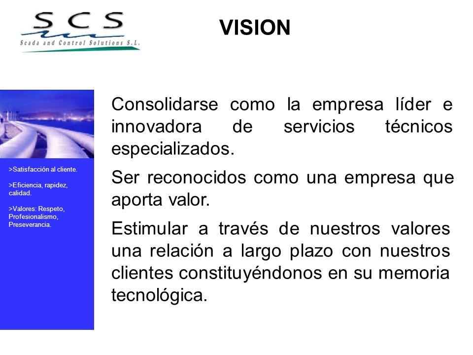 >Satisfacción al cliente. >Eficiencia, rapidez, calidad. >Valores: Respeto, Profesionalismo, Preseverancia. Consolidarse como la empresa líder e innov