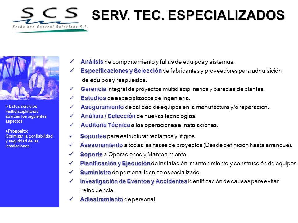 SERV. TEC. ESPECIALIZADOS SERV. TEC. ESPECIALIZADOS Análisis Análisis de comportamiento y fallas de equipos y sistemas. Especificaciones y Selección E