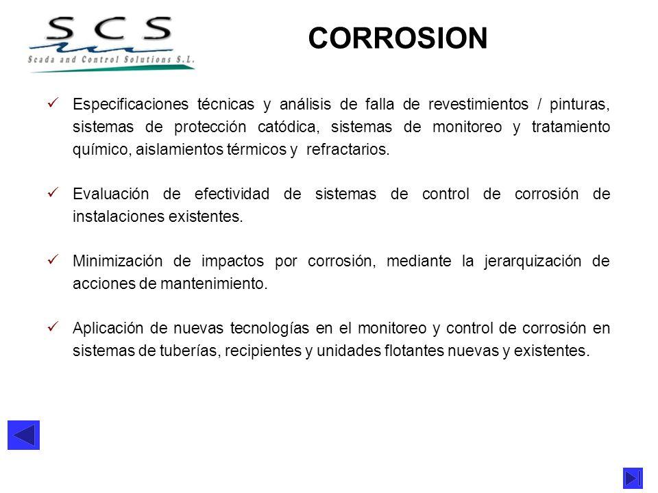 Especificaciones técnicas y análisis de falla de revestimientos / pinturas, sistemas de protección catódica, sistemas de monitoreo y tratamiento quími