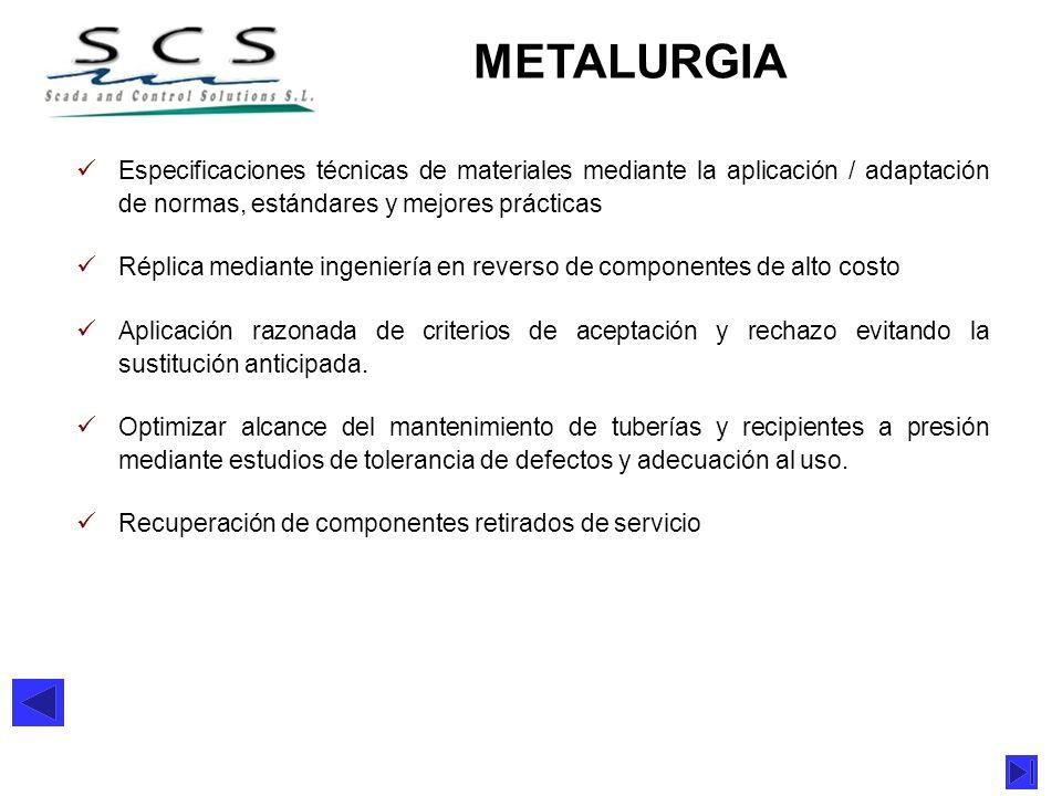 METALURGIA Especificaciones técnicas de materiales mediante la aplicación / adaptación de normas, estándares y mejores prácticas Réplica mediante inge