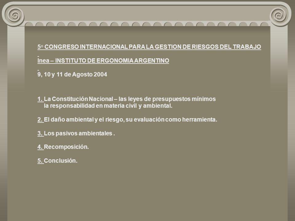 5° CONGRESO INTERNACIONAL PARA LA GESTION DE RIESGOS DEL TRABAJO Inea – INSTITUTO DE ERGONOMIA ARGENTINO 9, 10 y 11 de Agosto 2004 1.
