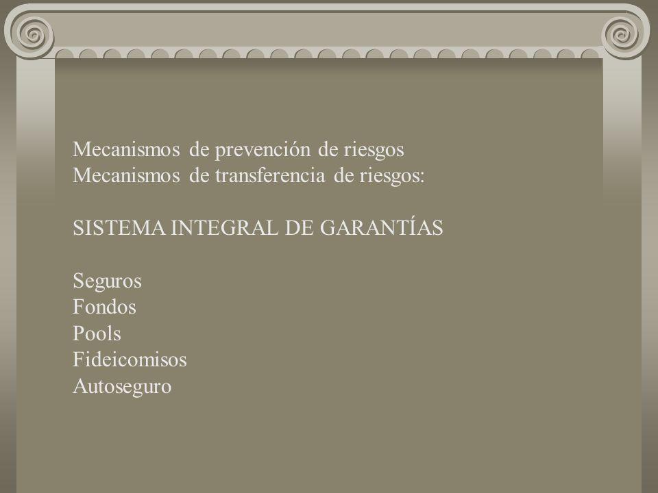 Mecanismos de prevención de riesgos Mecanismos de transferencia de riesgos: SISTEMA INTEGRAL DE GARANTÍAS Seguros Fondos Pools Fideicomisos Autoseguro