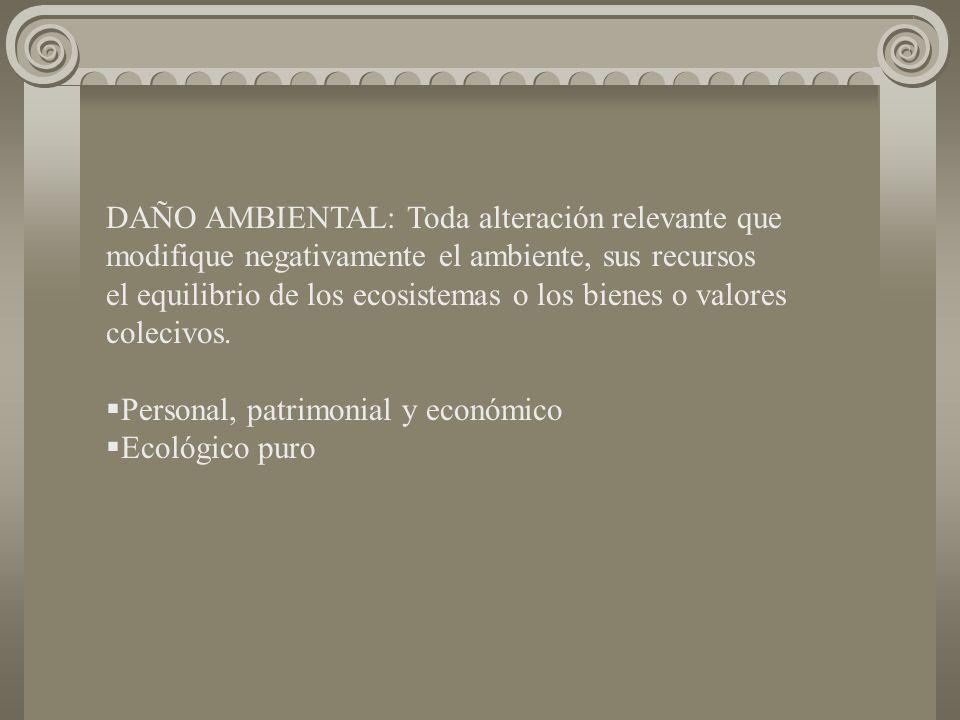 DAÑO AMBIENTAL: Toda alteración relevante que modifique negativamente el ambiente, sus recursos el equilibrio de los ecosistemas o los bienes o valores colecivos.