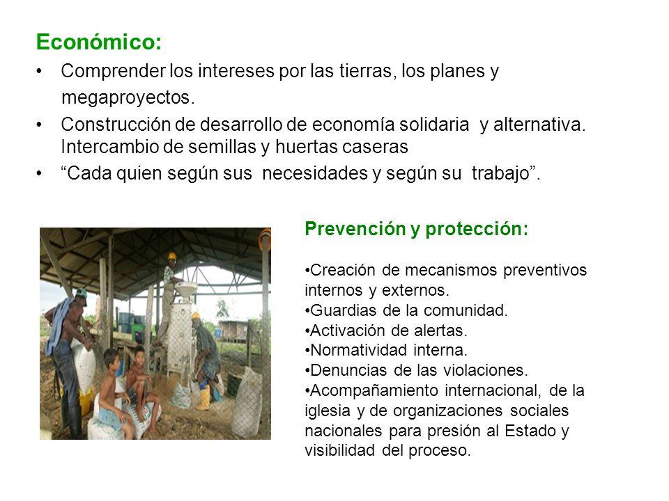 Económico: Comprender los intereses por las tierras, los planes y megaproyectos. Construcción de desarrollo de economía solidaria y alternativa. Inter