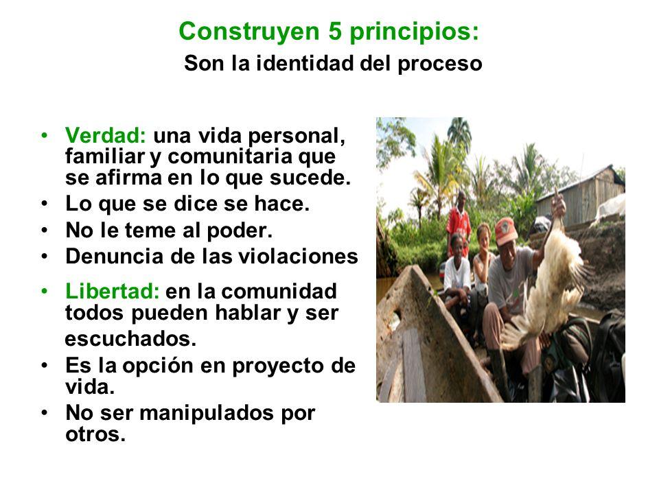 Construyen 5 principios: Son la identidad del proceso Verdad: una vida personal, familiar y comunitaria que se afirma en lo que sucede. Lo que se dice