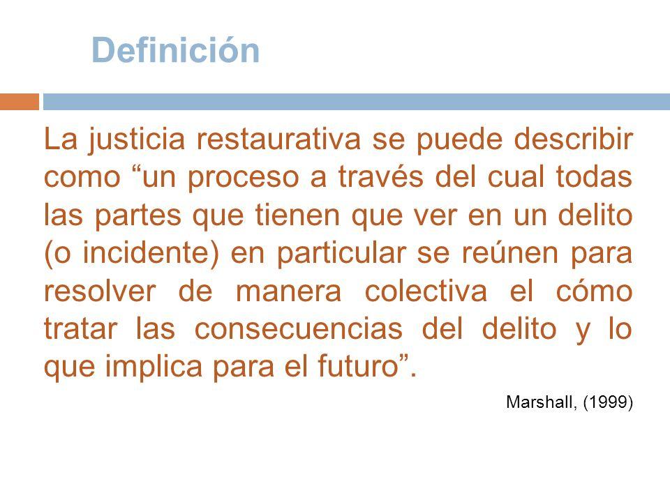 Definición La justicia restaurativa se puede describir como un proceso a través del cual todas las partes que tienen que ver en un delito (o incidente
