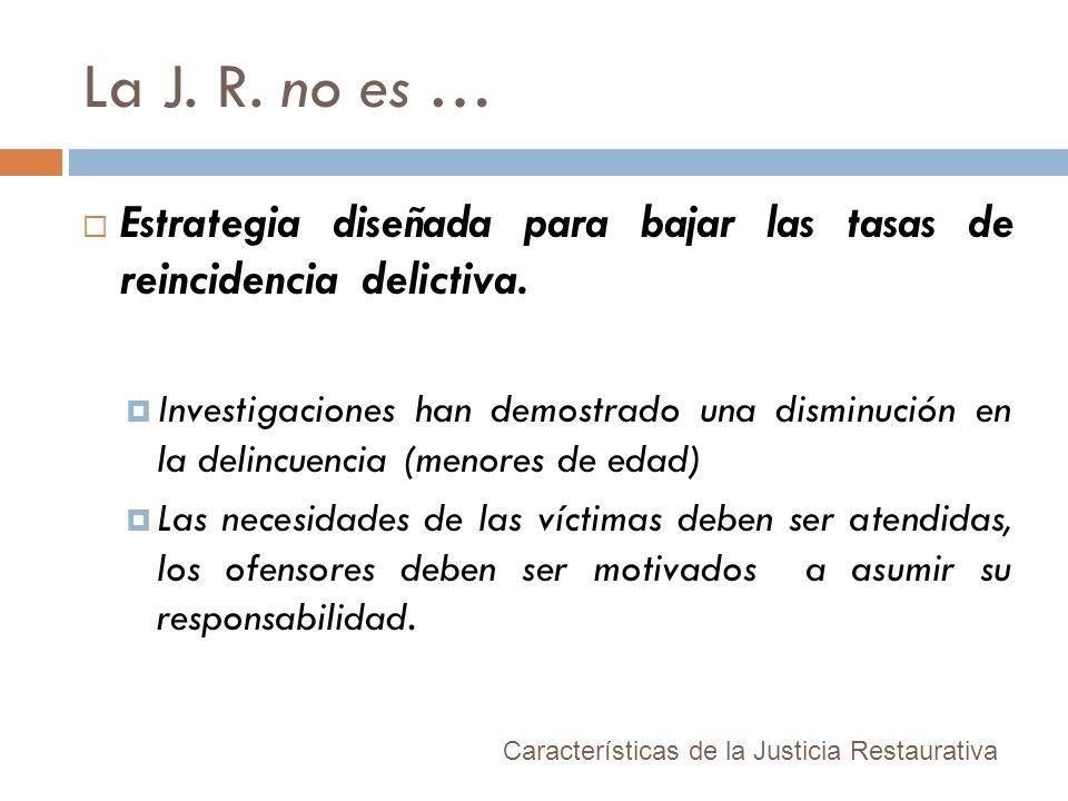 La J. R. no es … Estrategia diseñada para bajar las tasas de reincidencia delictiva. Investigaciones han demostrado una disminución en la delincuencia